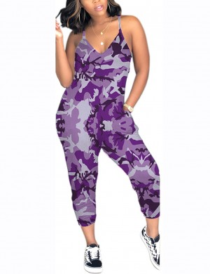 Luscious Purple Sling Side Bandage Jumpsuit Camouflage High Quality