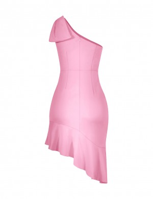 Fabulous Fit Pink Sheath One Shoulder Dress Mermaid For Fashion