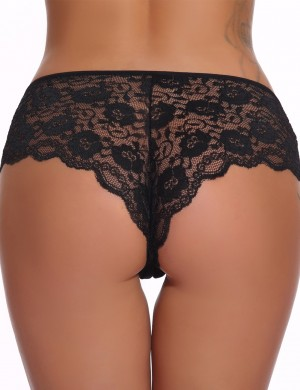 Simply Black Front Bow-Knot Hollow Out Panty Floral Lace Elastic Material