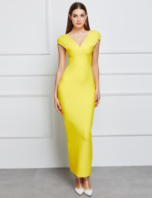 Laid-Back Yellow V Collar Split Bandage Dress Zipper Classic Fashion