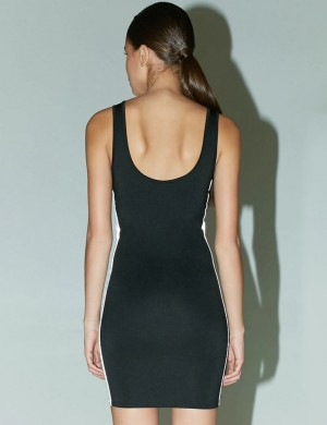Black Reflective Open Back Bodycon Dress U Neck High Quality