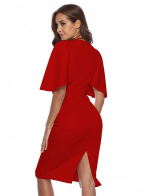 Ethereal Red Slit Back Ruffle Sleeve Pencil Dress Ultra Hot