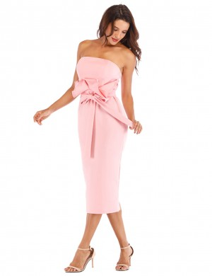 Luscious Curvy Pink Strapless Waist Knot Bodycon Dress Ruffled