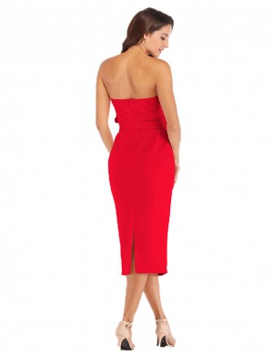 Energetic Red Ruffled Bandeau Pencil Dress Back Zip Pullover