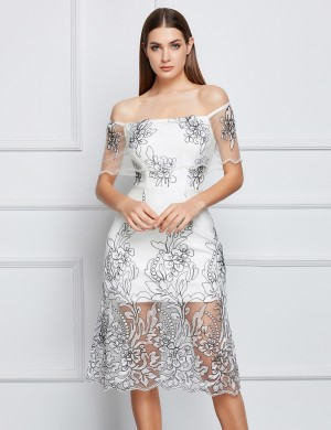 Fetching Embroidered White Off-The-Shoulder Bandage Dress