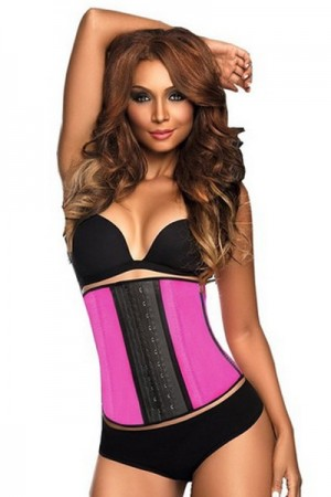 Cellulite Reducing Pink 4 Steel Boned Latex Waist Trainer