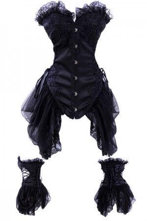Black plus Lace Overbust Corsets