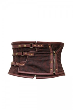 Brown Buckle Underbust Corset