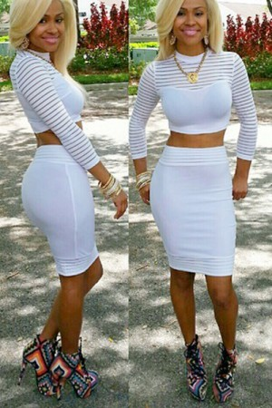 White Two Piece Bodycon Dress