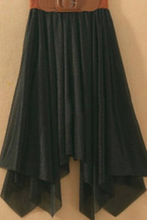 Black Girls Chiffon Skirts &Front Tied Belt