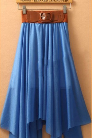 Blue Chiffon Cheap Long Skirts With Belt