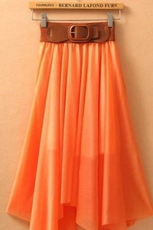 Orange Elegant Ladies Long Formal Chiffon Skirt