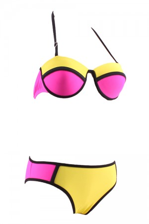 Shining Halter Padded Bikini Colour Block Scalloped Cups