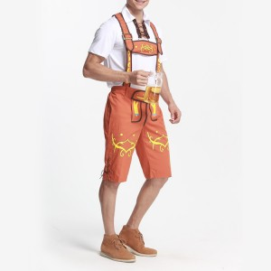 Elaborate Bavarian Pattern Lederhosen Fancy Dress Men