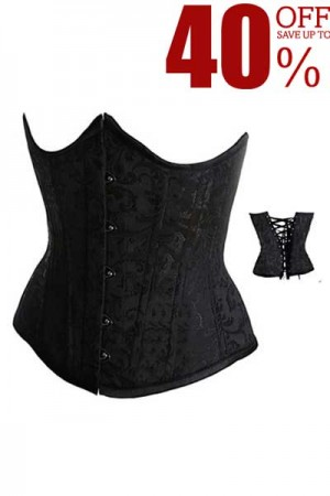 Black Brocade Curved Top Cheap Waist Training Underbust Corset