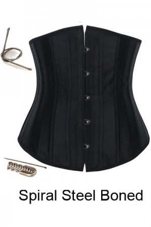 Plus Size Black 12 Steel Boned Underbust Corset Waist Training Corset