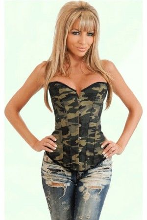 Sexy Camouflage Army Overbust Corset Plus Size Waist Cincher