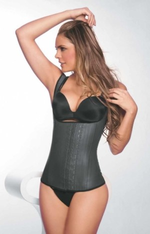 Traditional Higher Power U Style Black Latex Waist Trainer 9 Steel Bone