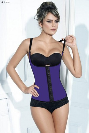 Real Smooth Purple Hooks Plus Size Latex Waist Cincher Vest