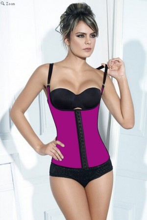 Clever Booster Pink Latex Steel Boned Hourglass Cincher Vest