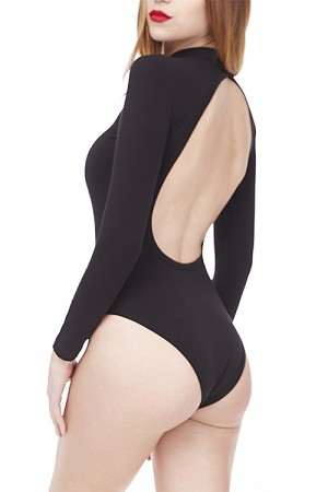 Open Back Black Bodysuit Long Sleeve Crotch Hooks Closure