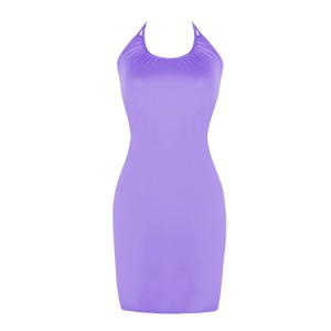 Versatile Solid Purple Beach Halter Neck Summer Dress