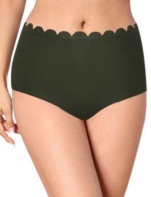 Green Double Lining Bikini Bottom Scalloped Trim Tailored Quality