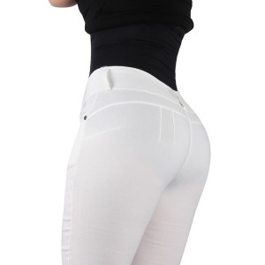 Miracle White Tight Zipper Push Up Bum Shaping Pants