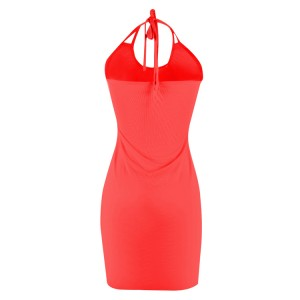 Splendid Pure Red Summer Beach Dresses Halter Neckline