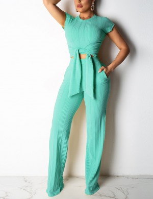 Lovable Light Green Cropped Pocket Wide Legged Set Knot