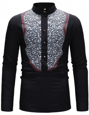 Black Stand Collar Button Ethnic Print Shirt Men Outfit