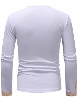 Royal Round Neck White African Long Sleeve Men T-Shirt High Quality