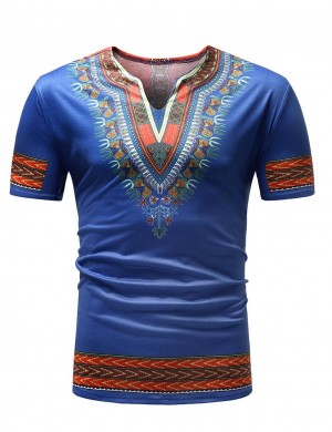 Vogue Tribal Print Blue V Neck Short Sleeve T-Shirt Men