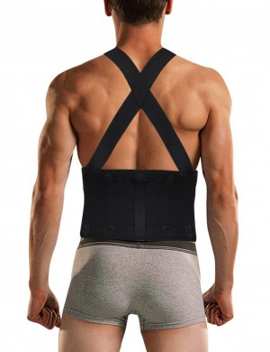 Thermo Heating Black Criss Cross Sticker Male Waist Shaper Tight Workout