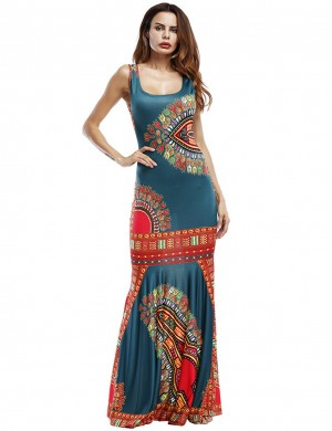 Green Flare Hem African Print Wide Strap Maxi Dress Women