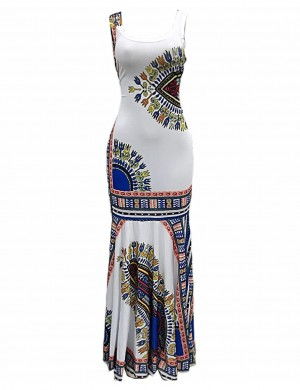White Ethnic Print Sleeveless Square Neck Maxi Dress Lady Fashion