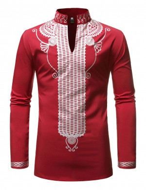 Unique Red African Print Hot Stamping Male Shirt All-Match Style
