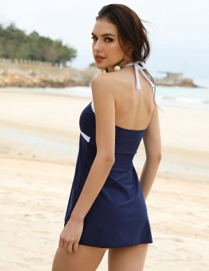 Ultra Dark Blue Contrast Color Halter Beach Dress Plus Size Elasticity