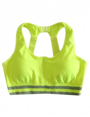 Multicolored Green Plain U Neck Hollow Buckle Sport Bra Sexy Ladies