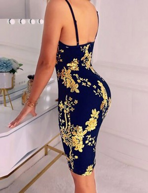 Graceful Floral Black Backless Sling Bodycon Dress V Neck For Lover