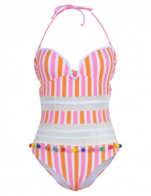 Boldly Stripe Print Open Back Beachwear Hollow For Girl