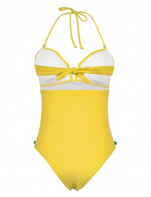 Beautifully Designed Yellow Open Back Halter Deep V Neck Swimsuit Beautiful