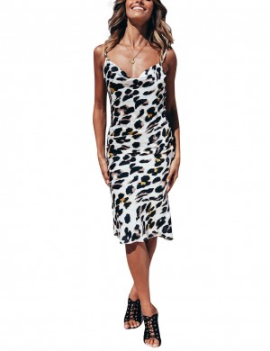 Wonderful Open Back White Leopard Sling Bodycon Dress Comfort