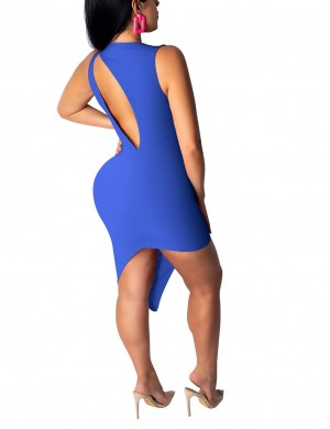 Blue Sleeveless Plain Open Back Bodycon Dress Feminine Curve