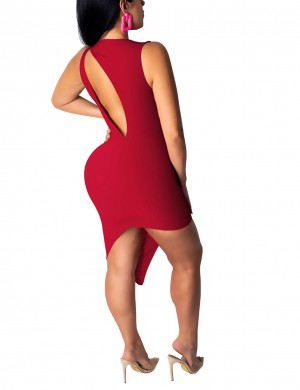 Comfy High-Low Hem Wine Red Cut Out Bodycon Dress Crew Neck Online