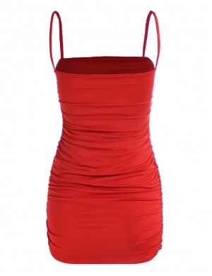 Plain Shirred Side Open Back Sling Bodycon Dress Exotic Girls
