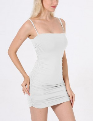 Absorbing Sling White Ruched Side Backless Bodycon Dress Fabulous Fit