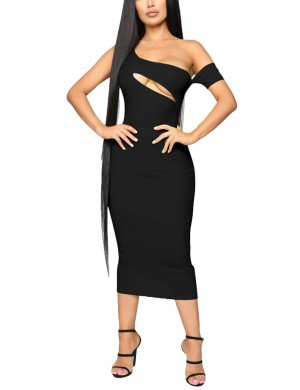 Super Trendy Sleeveless Black Oblique Shoulder Bodycon Dress Visual Effect