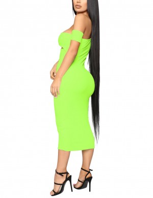 Retro Light Sloping Shoulder Green Bodycon Dress Midi Length Leisure Wear
