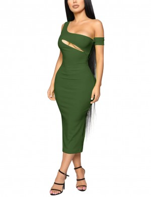 Dreamy Army Cut Out Green Sleeveless Bodycon Dress Midi Length Cheap Online
